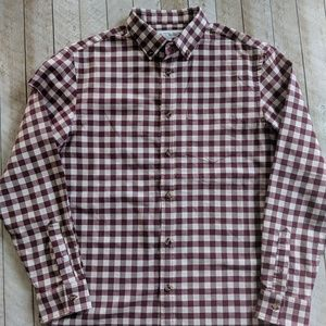 Old Navy Maroon and White Checkered Button Down
